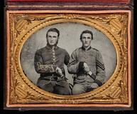 Unknown Artist, Captain Charles A.  and Sergeant John M.  Hawkins, Company E, 38th Regiment Georgia Volunteer Infantry, 1861-62.  ¼ plate ambrotype.  Private Collection.