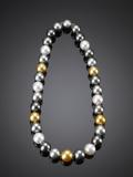 This outstanding multi-colored necklace demonstrates the range of color South Sea pearls can attain