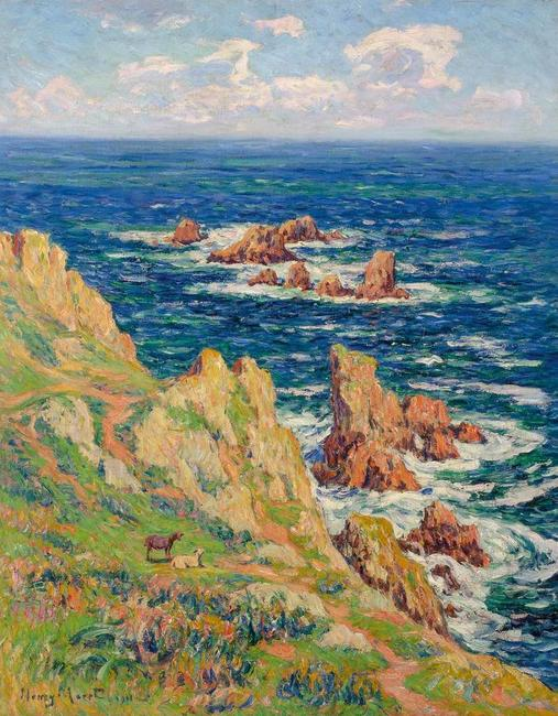 Henry Moret (French, 1856-1913), Rochers de Penharn Baie de Douarnenez, 1911, Oil on canvas, 36 1/2 x 28 3/4 inches.  Property of the Gertrude D.  Davis Trust.  Est.  $75,000-125,000.