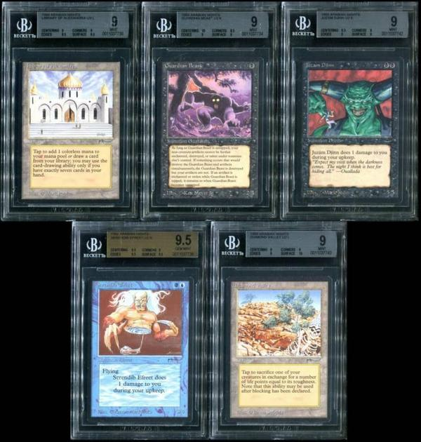 Early Magic: The Gathering cards, the complete Arabian Nights set, with many BGS-graded examples, to be sold as one lot.