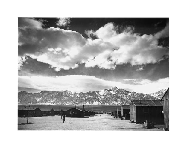 Ansel Adams, Manzanar Street Scene, Spring, 1943.  Gelatin silver print (printed 1984).  Private collection; courtesy of Photographic Traveling Exhibitions