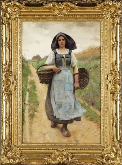 "Charles Sprague Pearce (American, 1851 - 1914) ""A Peasant Girl"" oil on canvas, 36"" x 24"""