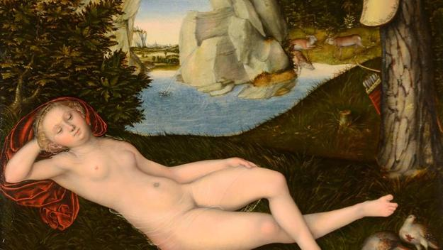 """Nymph of the Spring"" (ca.  1537-1540) by Lucas Cranach the Younger"