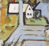 Robert De Niro, Sr., White Building, Blue Porch, 1968, Oil on canvas, 30 x 32 in.
