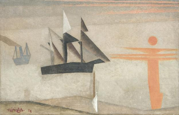 TEFAF Exhibitor W&K - Wienerroither & Kohlbacher shows Lyonel Feininger (1871-New York-1956) Ships and Red Sun.  Oil on canvas, 26.5 x 40.5 cm.  Signed and dated lower left 'Feininger 24'; inscribed by the artist verso 'Pulu´s Ostereichen 1924 (20.  April 1924)'