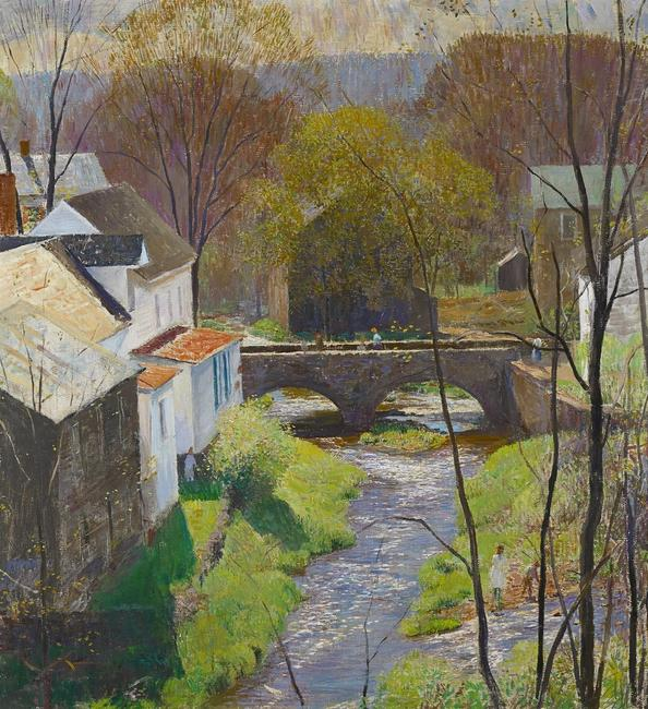 Daniel Garber (1880-1958) Carversville, Springtime.  Oil on canvas, 30 1/8 x 28 ¼ inches