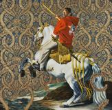 Kehinde Wiley, Equestrian Portrait of the Count Duke Olivares, 2005.  Oil on canvas, 108 x 108 in.  (274.3 x 274.3 cm) Rubell Family Collection, Miami .