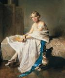 Charles Joseph Watelet, An Elegant Lady With her French Bulldog in an Interior.  Lawrence Steigrad Fine Arts.