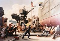 Thomas Hart Benton's 1944 artwork Cut the Line. Bentons World War II Navy art can be viewed online at the Naval Historical Center web site: www.history.navy.mil/ac/benton/benton1.htm 
