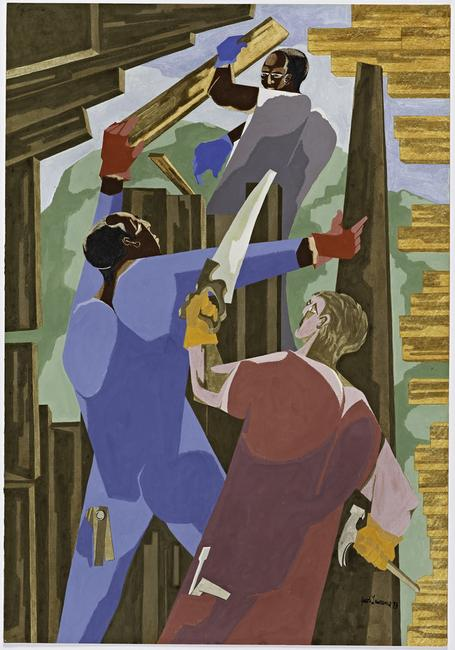Jacob Lawrence (U.S.A., 1917– 2000), Builders No.  3, 1973.  Gouache, tempera, and graphite on paper.  Gift of Dr.  Herbert J.  Kayden and Family in memory of Dr.  Gabrielle H.  Reem, 2013.103.  © 2015 The Jacob and Gwendolyn Lawrence Foundation, Seattle / Artists Rights Society (ARS), New York