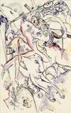 """Wassily Kandinsky's """"Entwurf für 'Apokalyptische Reiter II'"""" sold for just under €1 million at Galerie Thomas's booth."""