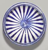 Blue and White Bowl with Radial Design, 13th Century, Iran, Kashan, fritware, painted in cobalt blue under transparent glaze.