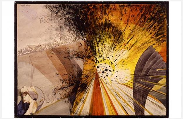 Claggett Wilson (1887–1952), Flower of Death—The Bursting of a Heavy Shell—Not as It Looks, but as It Feels and Sounds and Smells, c.  1919.  Watercolor and pencil on paperboard, 16 ½ × 22 in.  Smithsonian American Art Museum, Gift of Alice H.  Rossin, 1981.163.18 Photo: Smithsonian American Art Museum, Washington, DC/Art Resource, NY