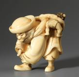 From Sydney L.  Moss Ltd, an ivory Shōki and oni Unsigned, circa 1790.  Height: 1⅝ inches, 4.2 cm.