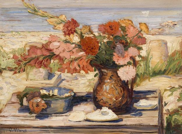 Paul Moro, Floral Bounty by the Bay, Dennis, MA, 1936, oil on board, 24 x 36 inches