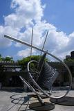 Sculpture Memantra by Frank Stella, Iris and B.  Gerald Cantor Roof Garden, Metropolitan Museum of Art New York City.
