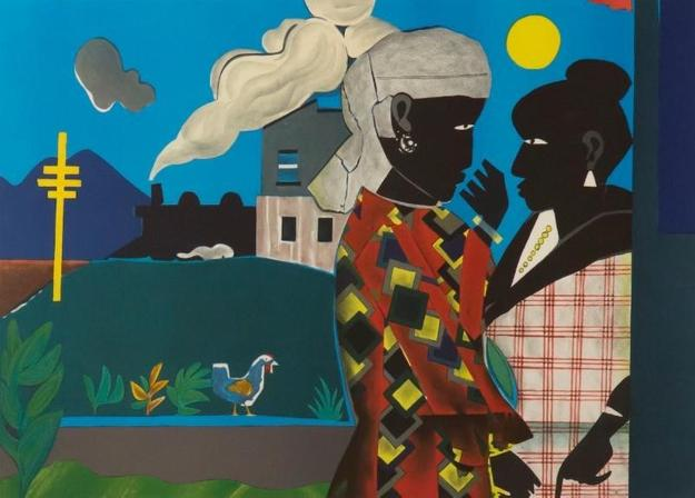 Romare Bearden (1914-1988), The Conversation, 1979, lithograph.  Collection of Tougaloo College Art Collection, Mississippi, 2002.089