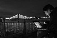 Leo Villareal sequencing The Bay Lights, 2013 © Lucas Saugen Photography