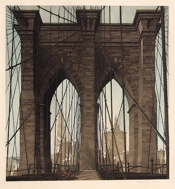 """Gates of The City"", etching and aquatint, 1922 by John Taylor Arms.  Courtesy of Marc Chabot Fine Arts (CT)."