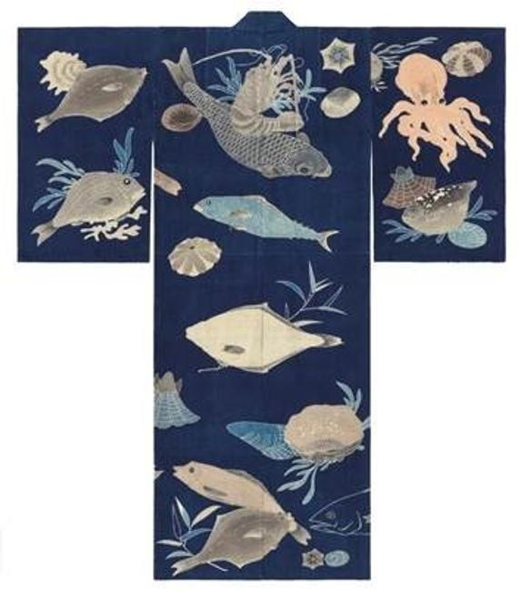 Dark blue-ground festival kimono decorated with sea creatures, first half 20th century.  Cloth: cotton; tsutsugaki (freehand resist).  The John R.  Van Derlip Fund and the Mary Griggs Burke Endowment Fund established by the Mary Livingston Griggs and Mary Griggs Burke Foundation
