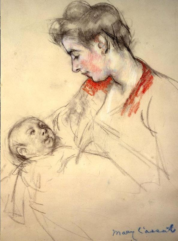 Mary Cassatt (1844-1926) Mother and Child, circa 1900 Pastel and charcoal on paper 19 7/8 x 15 inches Signed lower right: Mary Cassatt.  From Gavin Spanierman.