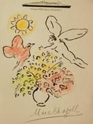 One of two whimsical and colorful drawings attributed to Marc Chagall (Fr., 1887-1985), drawn on sheets of stationery aboard RMS Queen Elizabeth 2 (each est.  $10,000-$20,000).