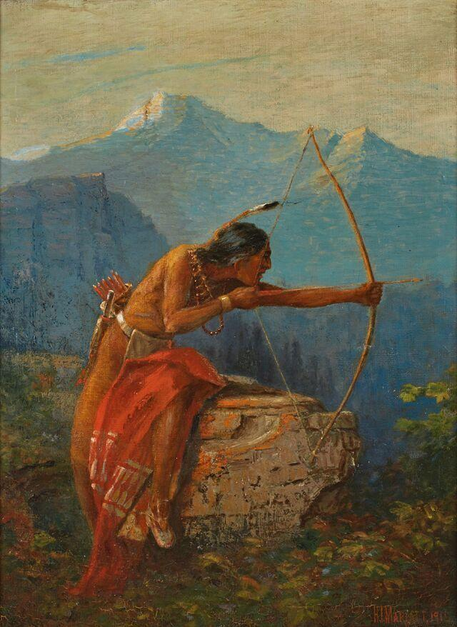 Oil painting titled Native American Bow Hunting by H.  Irving Marlatt (Am., 1860-1925), signed and dated 1915 lower right (est.  $1,500-$2,500).
