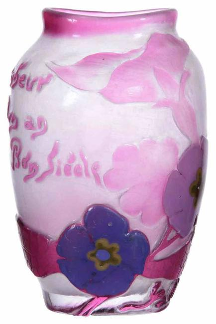 Signed Galle marquetry vase, 5.5 inches tall, having a white background with wheel carved pink overlay and large marquetry blossoms.