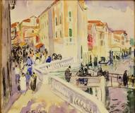 Martha Walter, Venice Bridge, c.  1920, watercolor on paper, 9.5 x 11