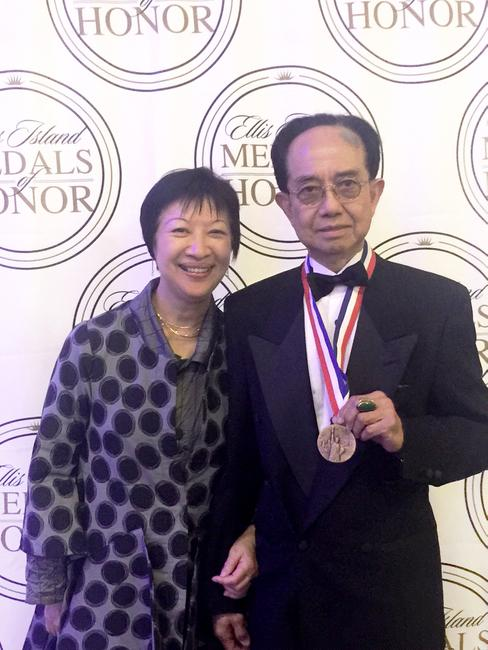 M.Y.  Kwong Lum with Mrs.  Lum shortly after he was awarded the Ellis Island Medal of Honor.