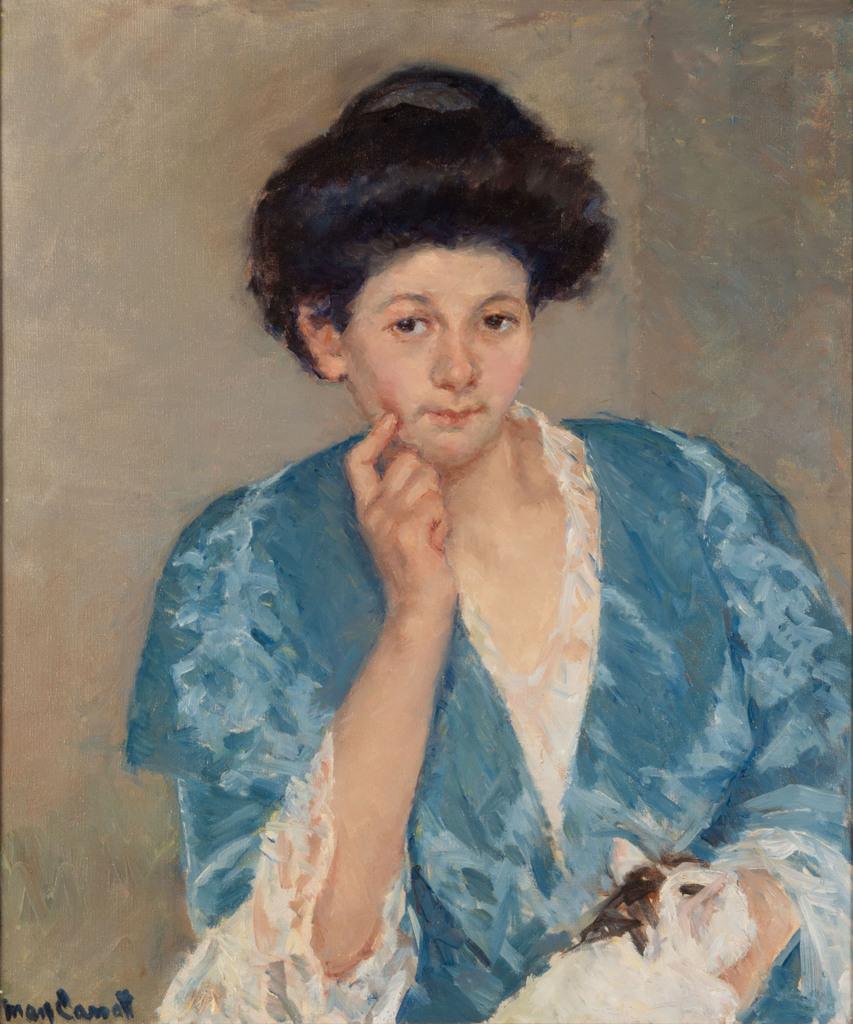 Mary Cassatt, Augusta with Her Forefinger on Her Cheek, oil, 27 x 22 1/2 in., $100,000-200,000