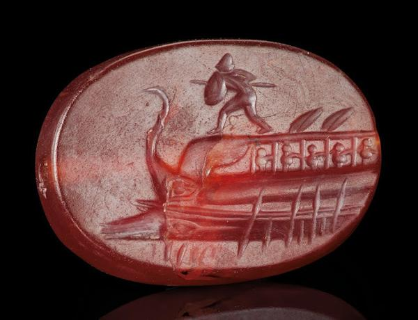 Greek carnelian scaraboid with Protesilaos, Classical Period, circa 4th cent.  BC
