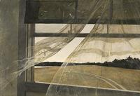 Andrew Wyeth, Wind from the Sea, 1947 tempera on hardboard overall: 47 x 70 cm (18 1/2 x 27 9/16 in.) framed: 66.4 x 89.5 x 7 cm (26 1/8 x 35 1/4 x 2 3/4 in.)