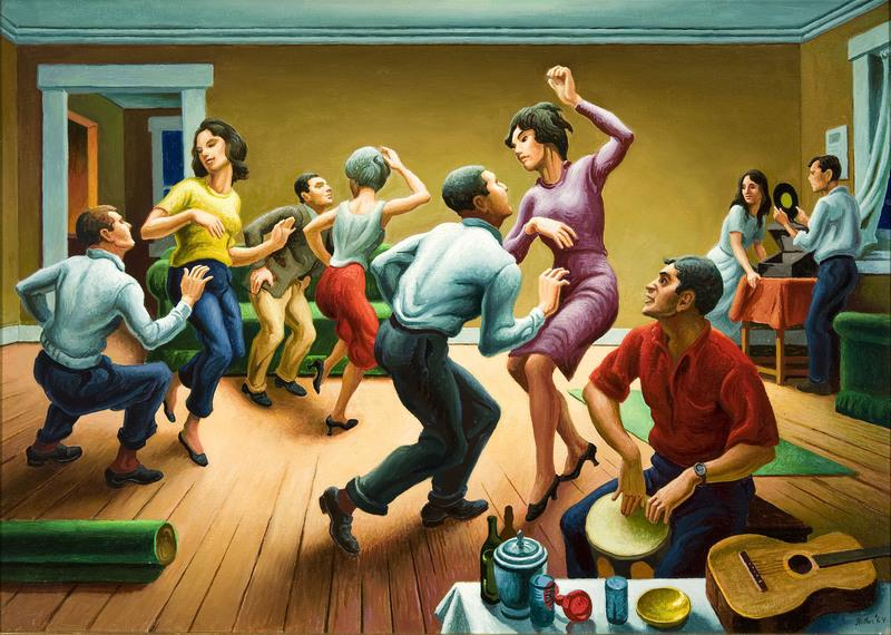 Debra Force Fine Art, Inc., presents Thomas Hart Benton (1889-1975) The Twist, 1964, signed Benton and dated 64, lower right, polymer tempera on canvas mounted on panel, 20 x 28 inches.