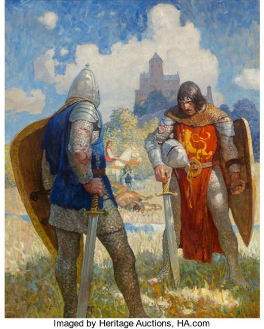 "Newell Convers Wyeth's ""I am Sir Launcelot du Lake, King Ban's son of Benwick, and knight of the Round Table,"" The Boy's King Arthur: Sir Thomas Malory's History of King Arthur and His Knights of the Round Table interior book illustration, 1917, went to $615,000."