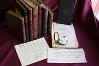 Included in the exhibition are rare books, newspapers, pamphlets, manuscripts, letters, and art relating to Aaron Burr and his contemporaries.  Burr's pocket watch is shown in the foreground with the only known portrait of his first wife and the earliest known portrait of his daughter Theodosia.