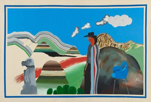 David Hockney, Rocky Mountains and Tired Indians (detail), 1965, acrylic on canvas, Collection of the National Galleries of Scotland, Edinburgh, courtesy of National Galleries of Scotland, Edinburgh