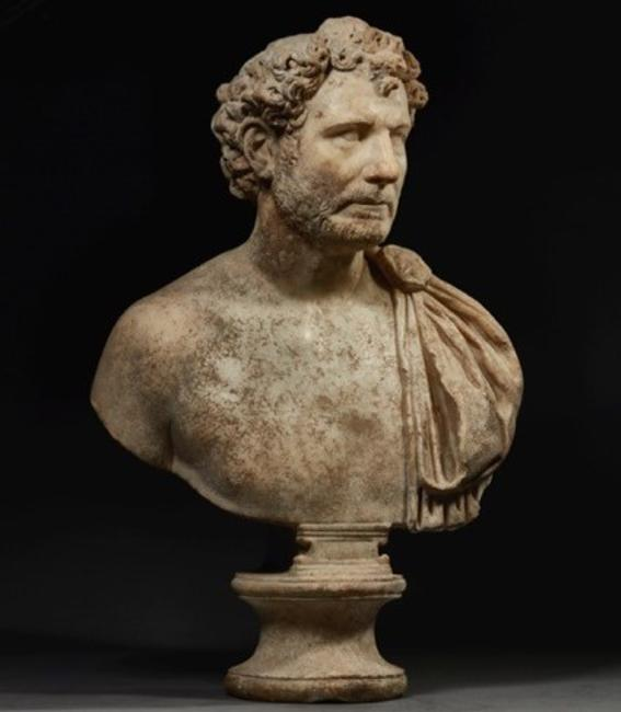 Portrait Bust of a Man, AD 140-160.  Roman.  Marble.  Height: 30 in.