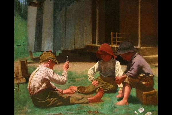 "James Longacre Wood, ""Mumble the Peg."" Painted in 1892."