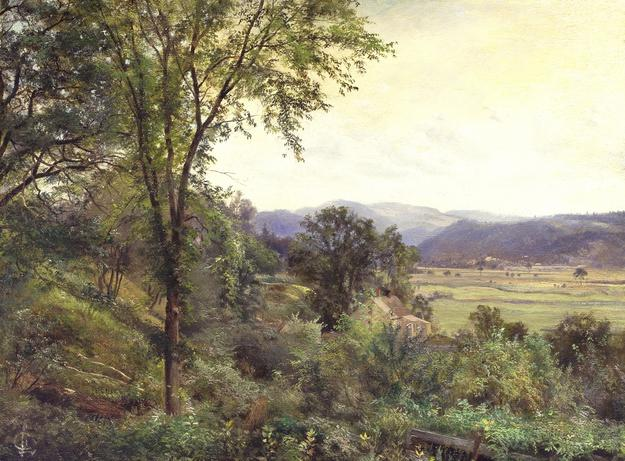 Edward L.  Custer (1837-1881) River Valley, New Hampshire.  Oil on canvas.  12 x 15 1/8 inches.  Signed at lower left, inscribed with title on stretcher.