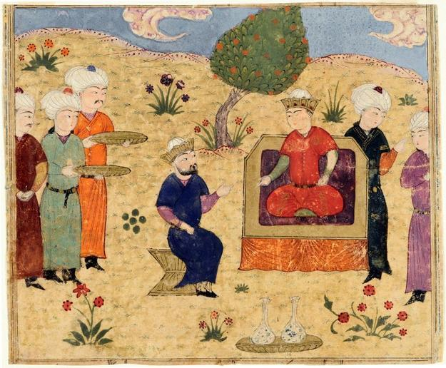 Kay Kavus Crowns His Grandson Kay Khusraw, Painting from an illustrated manuscript of the Shahnama by Firdawsi