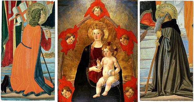 Two newly acquired works by Cosimo Rosselli —Saint Ansanus (left) and Saint Anthony Abbot (right), both painted ca.  1470—rejoin Rosselli's Madonna and Child in Glory (center) in The Huntington's collections.  Saint Ansanus (36 1/4 x 19 1/4 in.), Saint Anthony Abbot (36 1/4 x 19 3/8 in.), Madonna and Child in Glory (36 x 28 in.), tempera with gold leaf on poplar wood panel.  The Huntington Library, Art Collections, and Botanical Gardens.