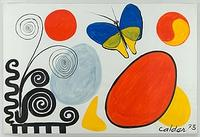 "Alexander Calder, Blue and Yellow Butterfly, 1973.  Gouache on paper.  30 x 44 in.  (76.2 x 111.8 cm.).  Signed and dated ""Calder 73"" lower right."