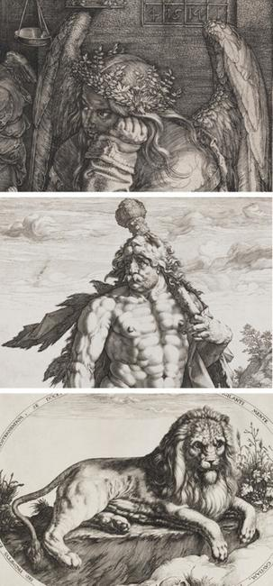 Albrecht Dürer, Melencolia I (detail), 1514.  Engraving.  Harvard Art Museums/Fogg Museum, Gift of William Gray from the collection of Francis Calley Gray, G1098.  Hendrick Goltzius, The Great Hercules (detail), 1589.  Engraving.  Harvard Art Museums/Fogg Museum, Gray Collection of Engravings Fund, G4613.  Jacques de Gheyn II, Great Lion (detail), c.  1590.  Engraving.  Harvard Art Museums/Fogg Museum, Anonymous Fund for the Acquisition of Prints Older than 150 Years, 2009.46..
