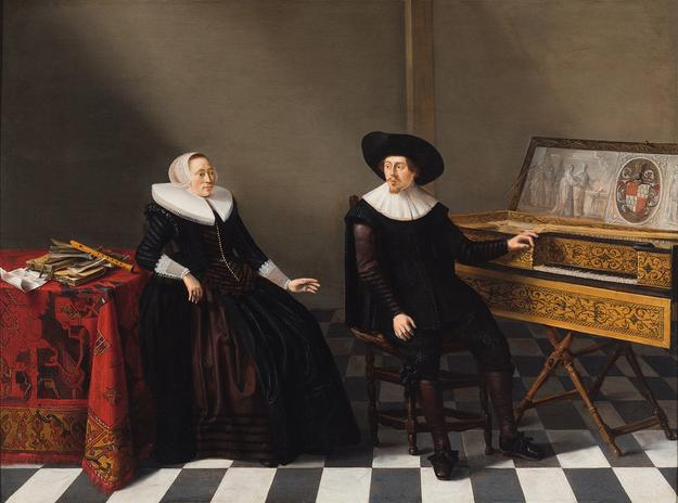 Gerard Donck (born before 1610–died after 1640), Portrait of Nicolaes Willemsz.  Lossy and his wife Marritgen Pieters, 1633, oil on panel, 18-3/4 x 24-3/4 inches, Museum purchase with funds from the Berchel H.  and Alice Dale Harper Estate and bequest of Rose Marie Baumgarten, 2017.2