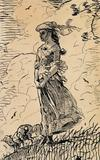 This recently discovered pen and ink drawing by Winslow Homer.  Fresh Air, 1879, is a study from his seminal, same-titled watercolor now at the Brooklyn Museum of Art