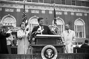 President Kennedy speaks to the crowd outside the Hotel Texas in Fort Worth, Texas, November 22, 1963., William Allen, photographer/Dallas Times Herald Collection, Courtesy of The Sixth Floor Museum at Dealey Plaza