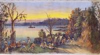 John J.  Egan, American (born Ireland), 1810–1882; Indians at Their Games, scene sixteen from Panorama of the Monumental Grandeur of the Mississippi Valley, c.1850; distemper on cotton muslin; Saint Louis Art Museum, Eliza McMillan Trust 34:1953.