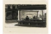 Edward Hopper, Study for Nighthawks, 1941 or 42.  Fabricated chalk and charcoal on paper.  11 1/8 x 15 in.  Whitney Museum of American Art, NY.  Purchase and gift of Josephine N.  Hopper by exchange.