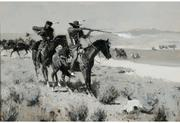 Top lot for the day was Frederic Remington's black and white oil, Pack Horse Men Repelling an Attack by Indians, 27 inches by 40 inches, (estimated at $500,000 to $700,000) that sold for $1,035,000.